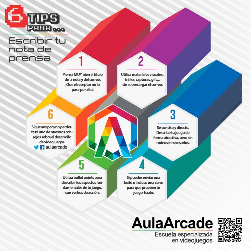 infografía trucos desarrollo de videojuegos 1. Escribir nota de prensa. Aula Arcade. Escuela de videojuegos en Sevilla