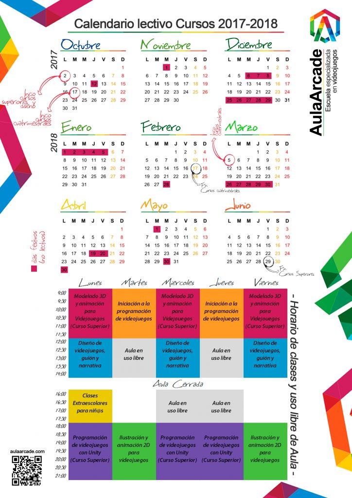 Calendario y horarios de clase
