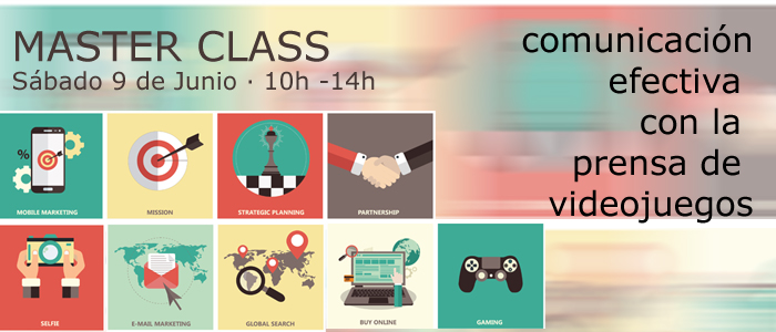 cuadrados de colores con imagenes relacionadas con el marketing y la prensa de videojuegos