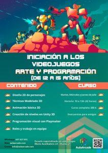 Cartel del curso de verano para jovenes sobre creación de videojuegos para jovenes arte y programación