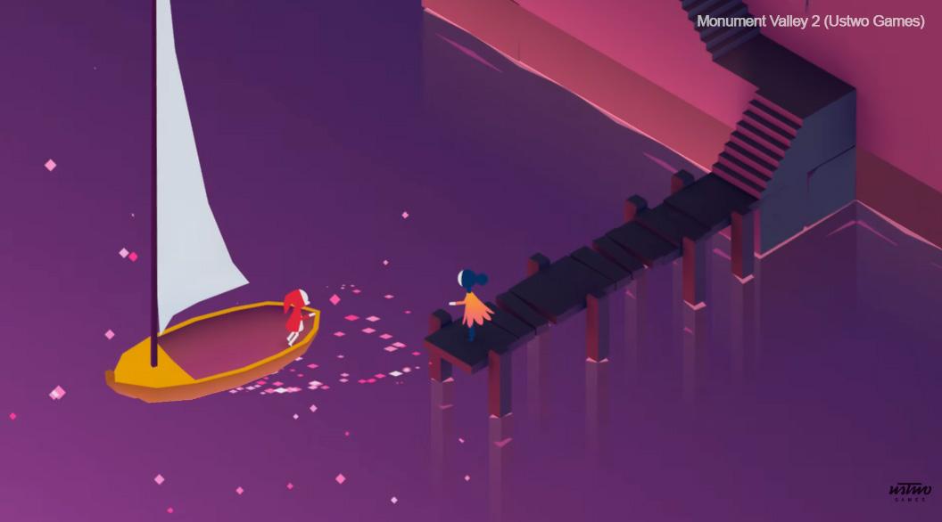 el juevo monument valley 2 de ustwo games ilustra la portada del curso de diseño de videojuegos y niveles con unity en Sevilla